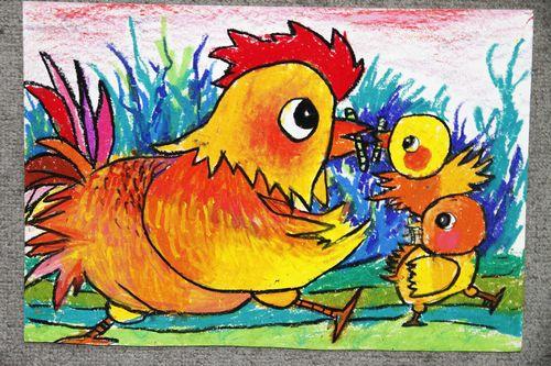 小鸡-蜡笔画图集14