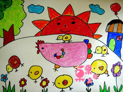 小鸡-蜡笔画图集15