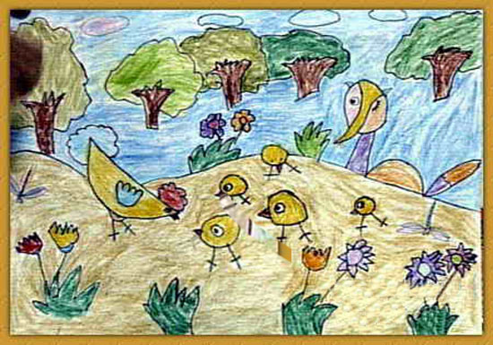 小鸡-蜡笔画图集16