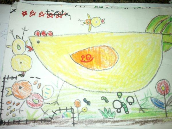 小鸡-蜡笔画图集17