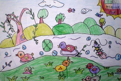 小鸡-蜡笔画图集18