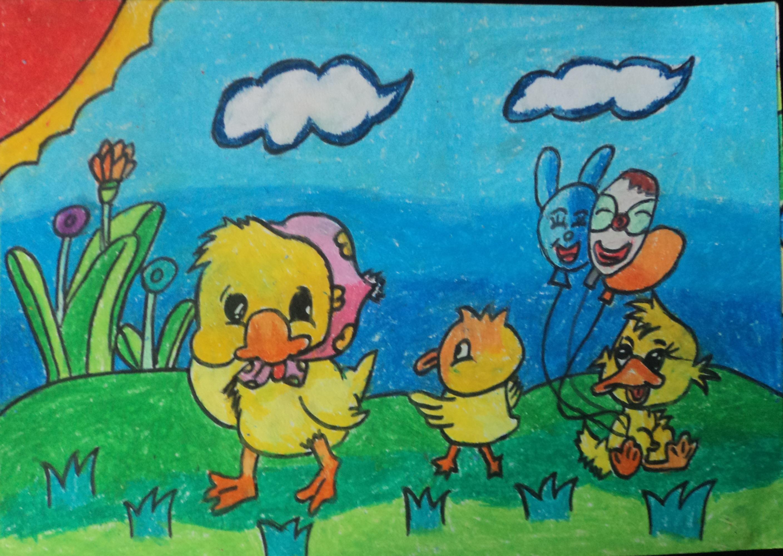 小鸡-蜡笔画图集19
