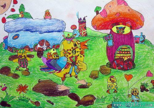 小鸡-蜡笔画图集21