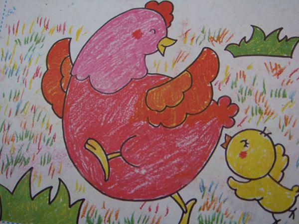 小鸡-蜡笔画图集23