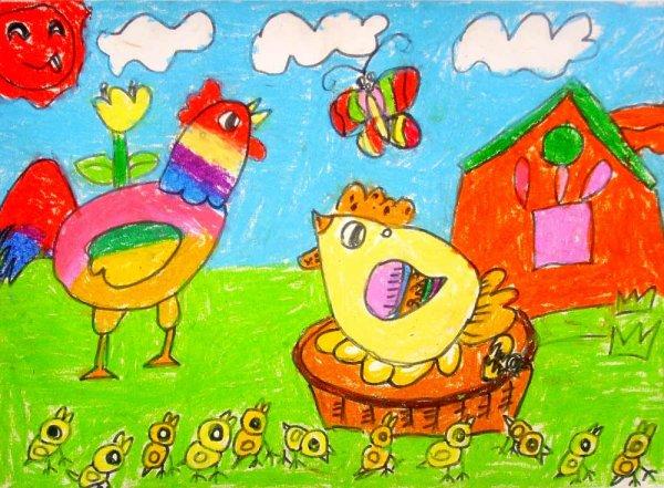 小鸡-蜡笔画图集24