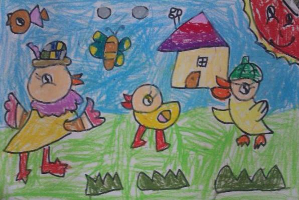 小鸡-蜡笔画图集26