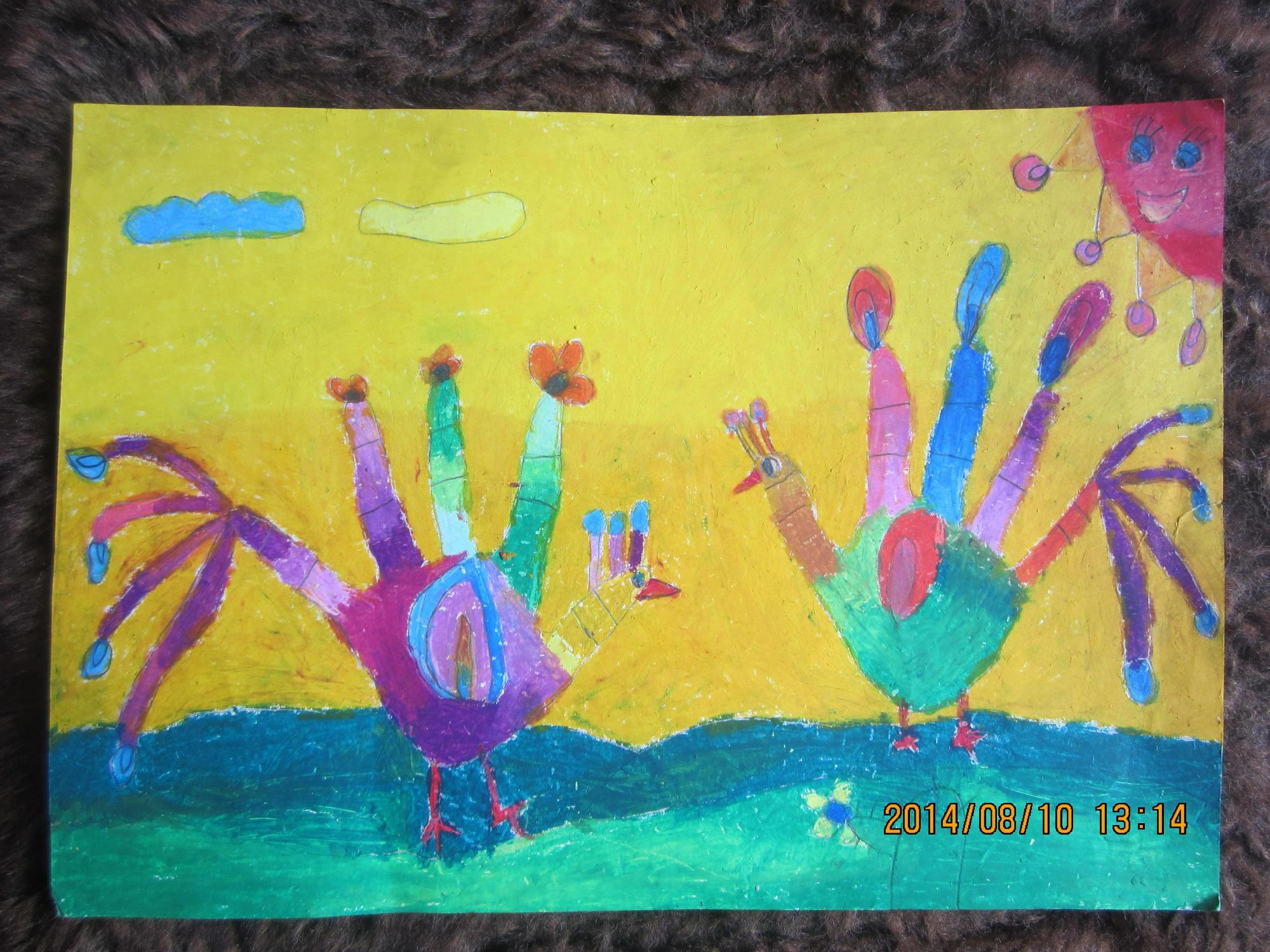 小鸡-蜡笔画图集27