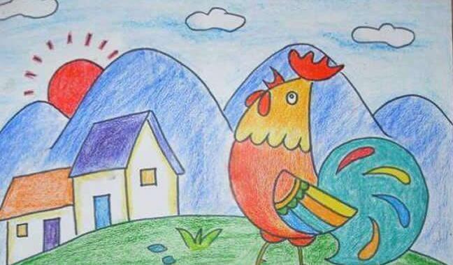 小鸡-蜡笔画图集28
