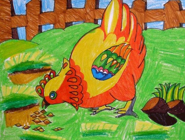 小鸡-蜡笔画图集30
