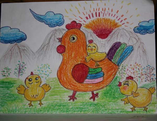 小鸡-蜡笔画图集31