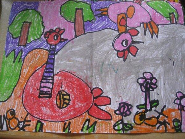 小鸡-蜡笔画图集32