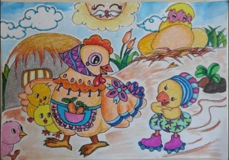 小鸡-蜡笔画图集33