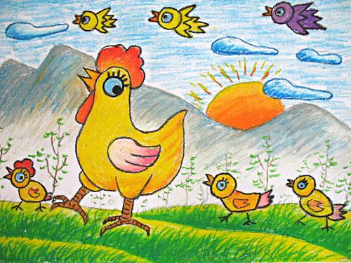 小鸡-蜡笔画图集34