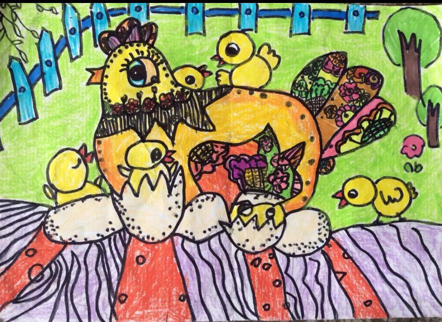 小鸡-蜡笔画图集35