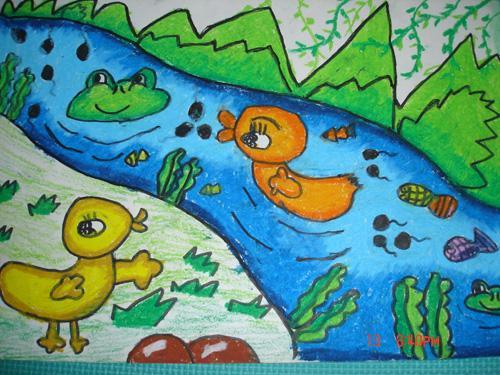 小鸭子-蜡笔画图集3