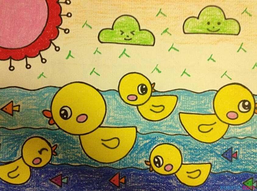 小鸭子-蜡笔画图集4