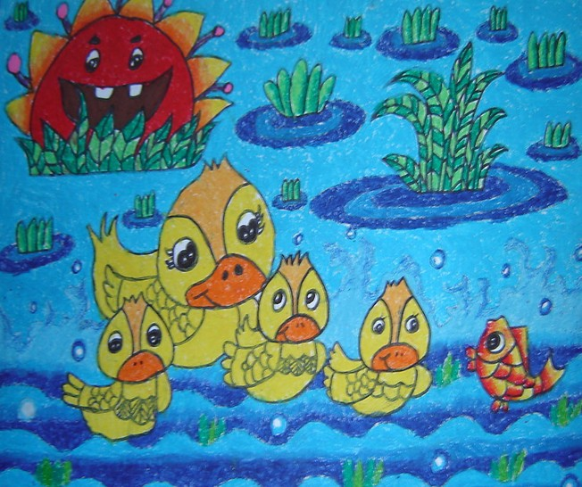 小鸭子-蜡笔画图集5