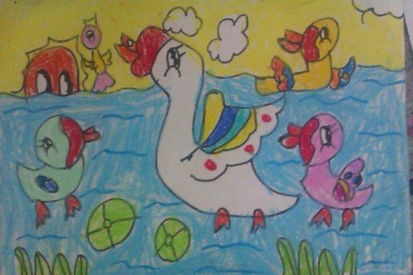 小鸭子-蜡笔画图集6