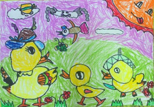 小鸭子-蜡笔画图集8