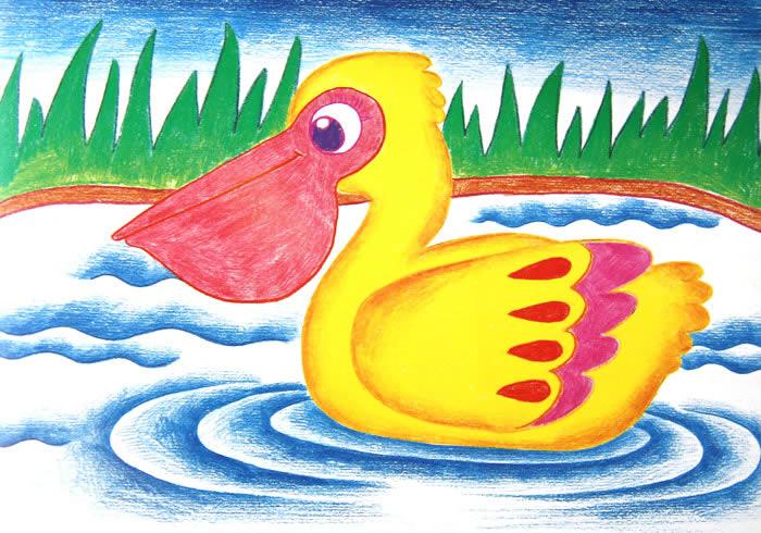 小鸭子-蜡笔画图集9