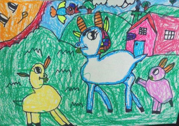 山羊-蜡笔画图集