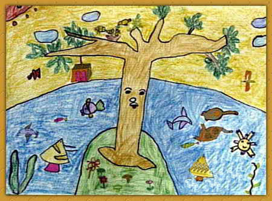 岛-蜡笔画图集