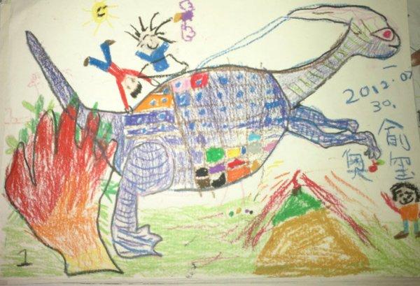 恐龙-蜡笔画图集
