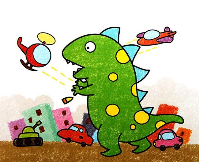 恐龙-蜡笔画图集2