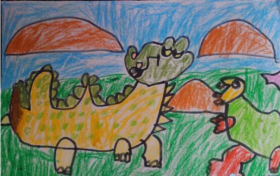 恐龙-蜡笔画图集4