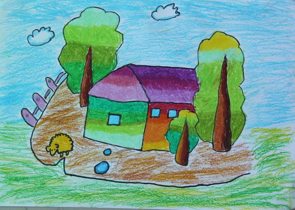 房子-蜡笔画图集2