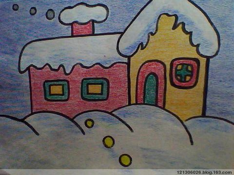房子-蜡笔画图集4