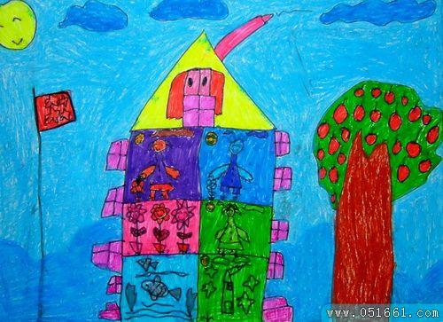 房子-蜡笔画图集6