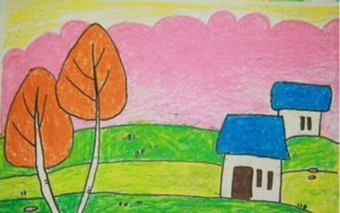 房子-蜡笔画图集8