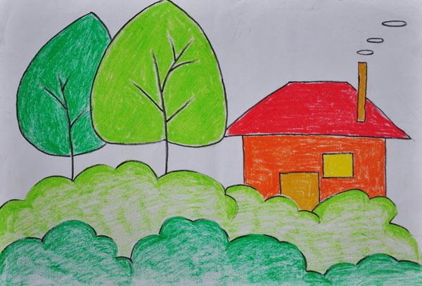 房子-蜡笔画图集13