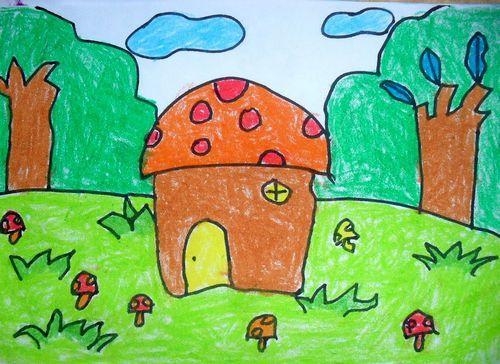 房子-蜡笔画图集15