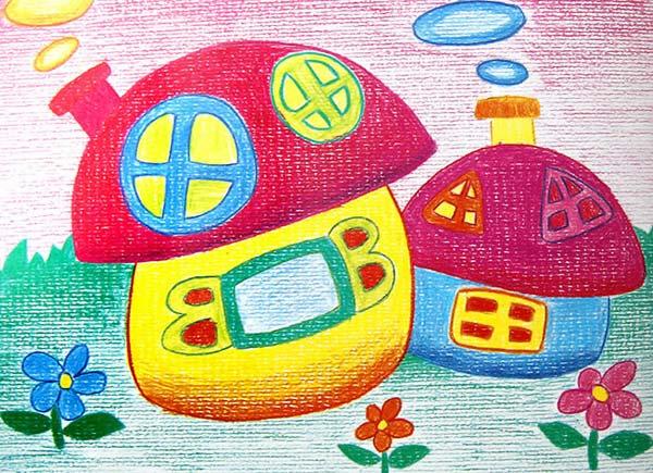 房子-蜡笔画图集16