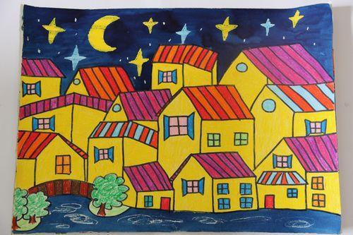 房子-蜡笔画图集19