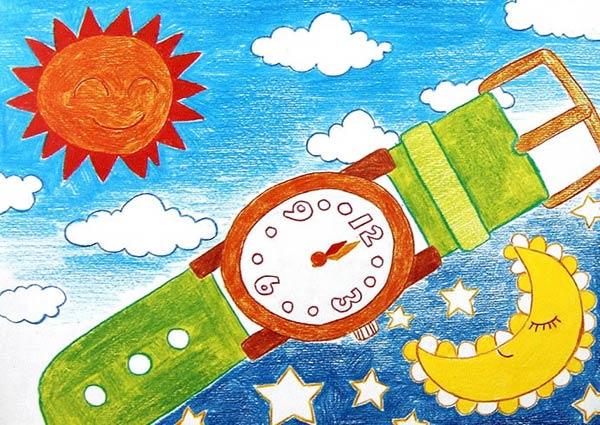 手表-蜡笔画图集