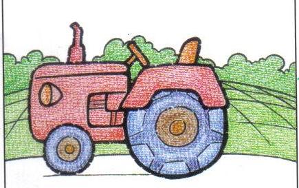 拖拉机-蜡笔画图集