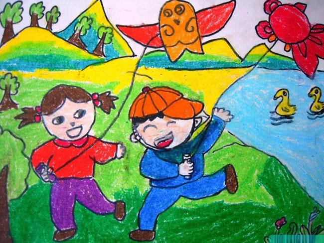 放风筝-蜡笔画图集