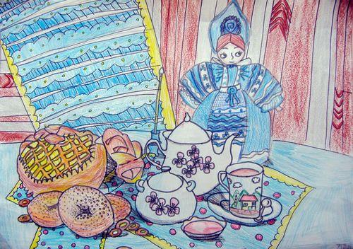 早餐-蜡笔画图集