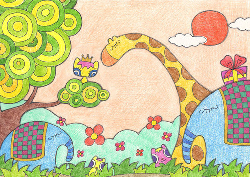 春天-蜡笔画图集2