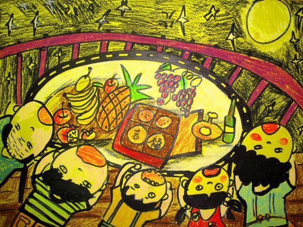 晚餐-蜡笔画图集