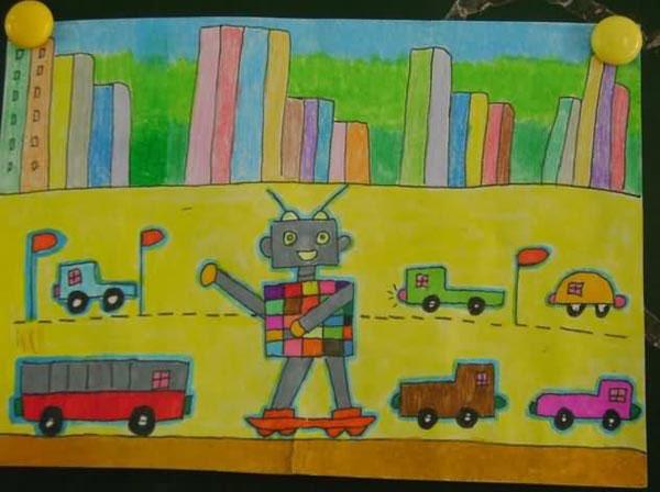 机器人-蜡笔画图集图片_儿童蜡笔画_少儿图库_中国