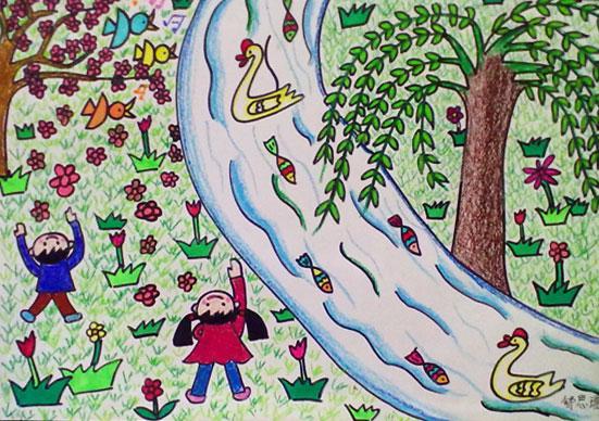 柳树-蜡笔画图集