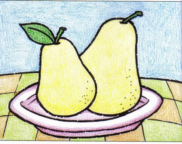 梨-蜡笔画图集