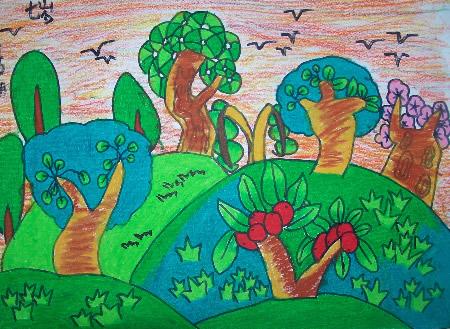 森林-蜡笔画图集图片