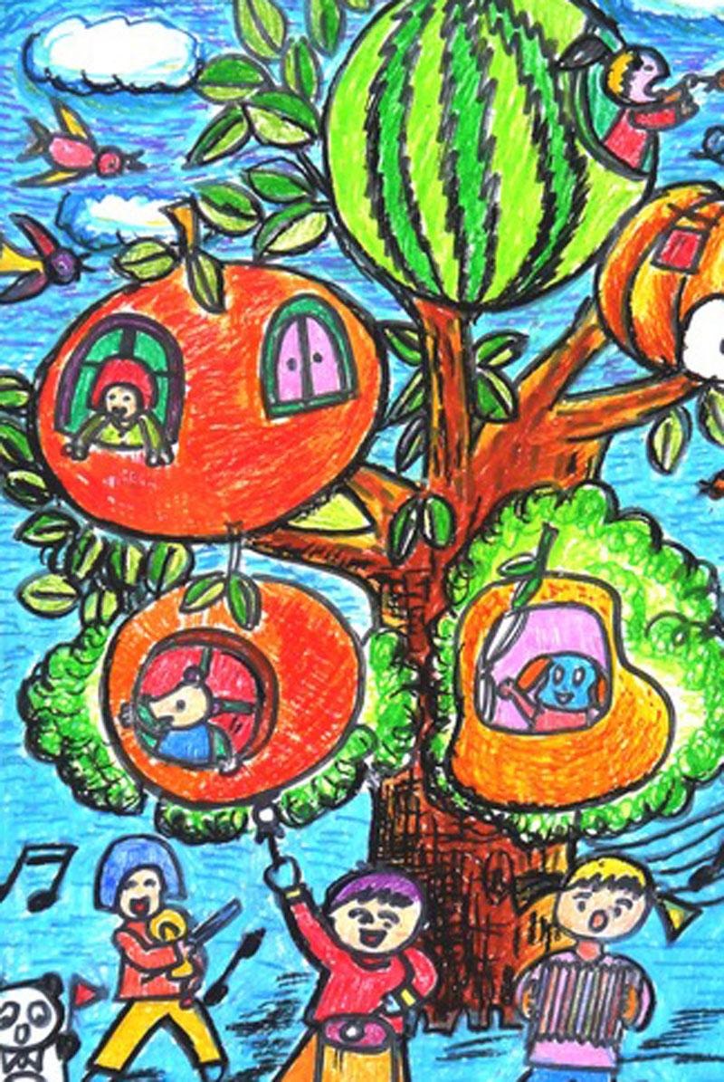 植树节-蜡笔画图集