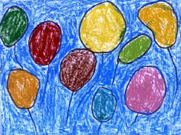 气球-蜡笔画图集