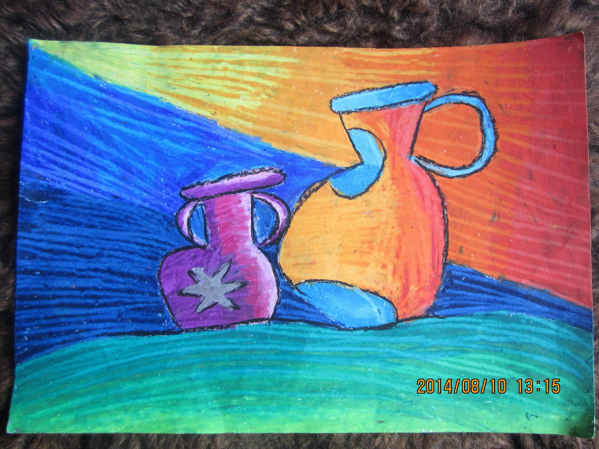 水壶-蜡笔画图集